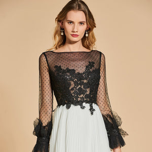 A line long sleeves lace floor-length dress