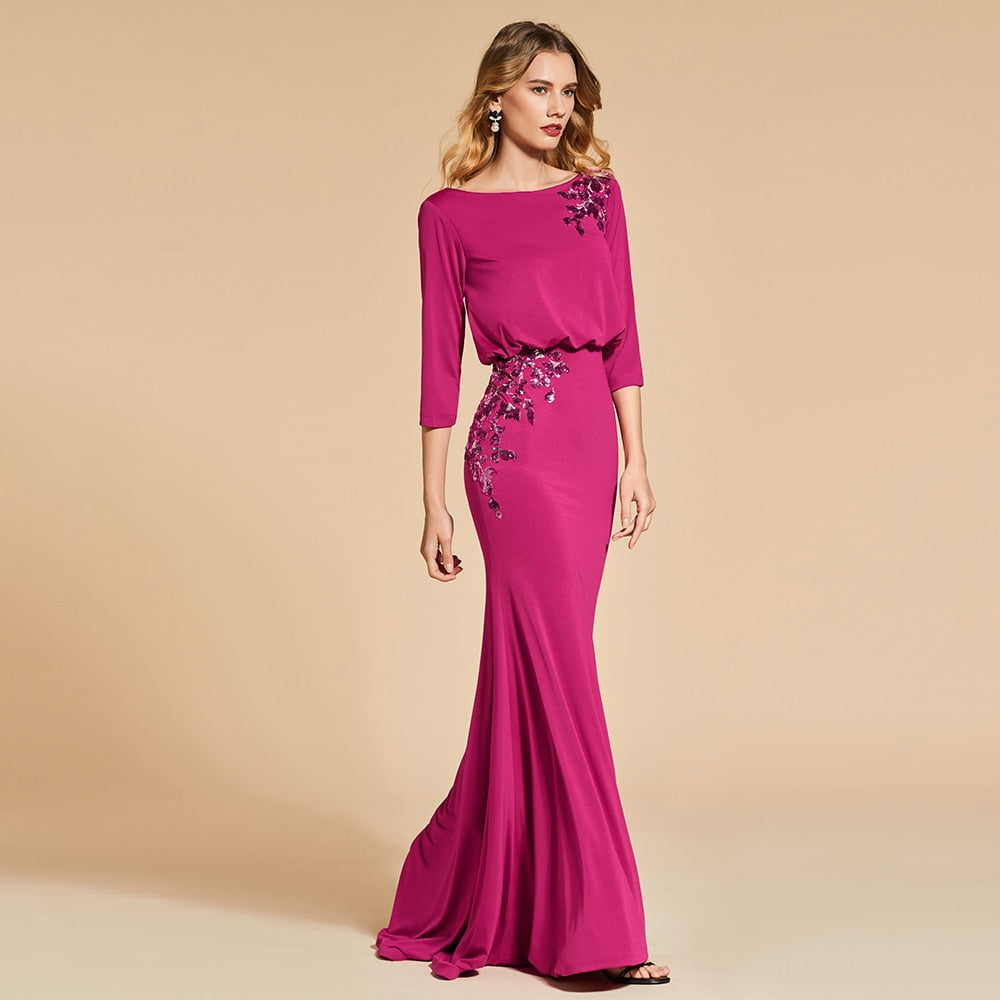 Trumpet 3/4 sleeves backless evening dresses