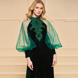 A line beading lace long sleeves floor-length dress