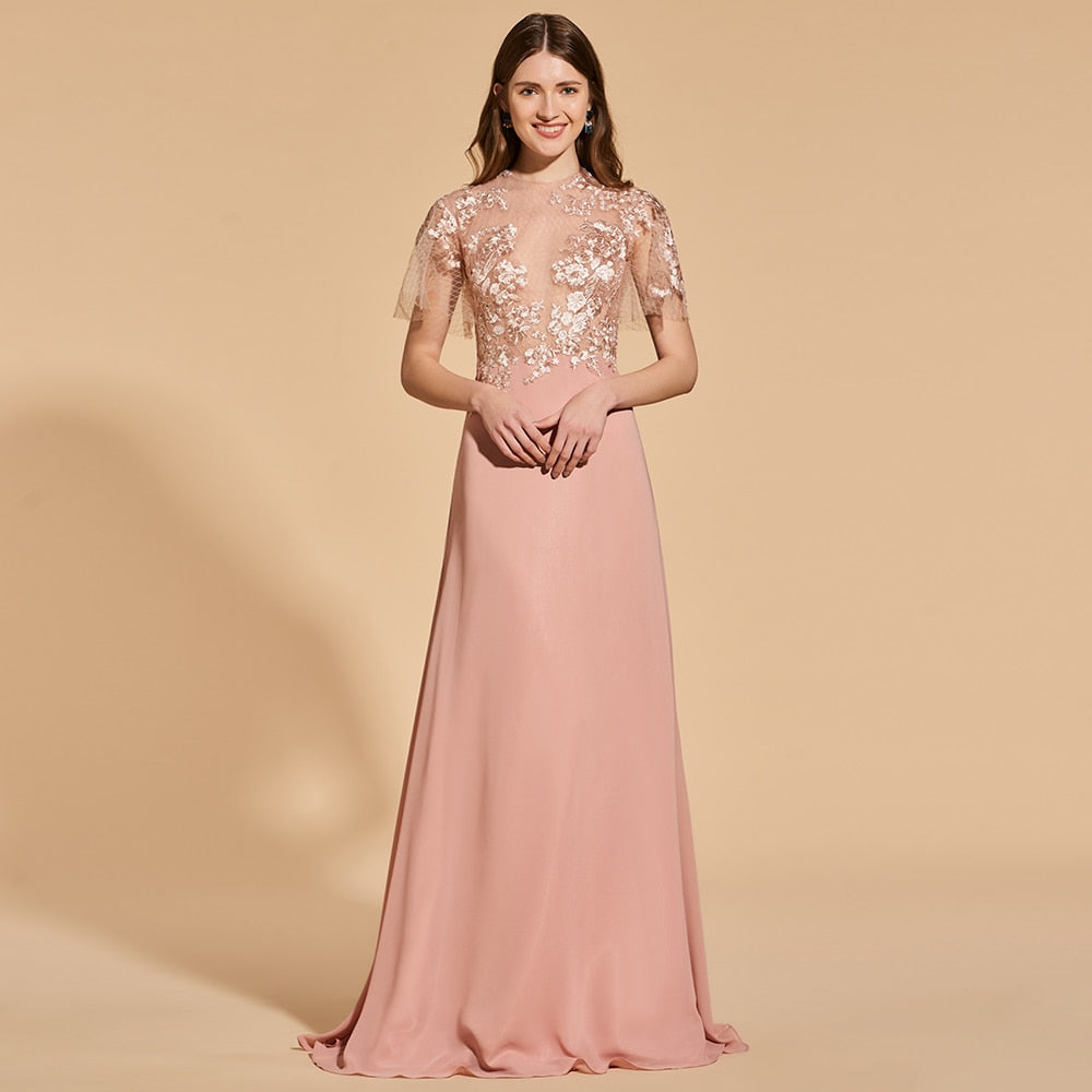 scoop neck short sleeves floor length party gown