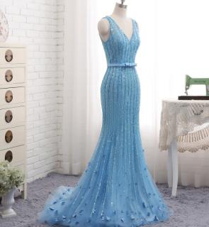 Floor Length Sequined Tulle Mermaid Evening Dress