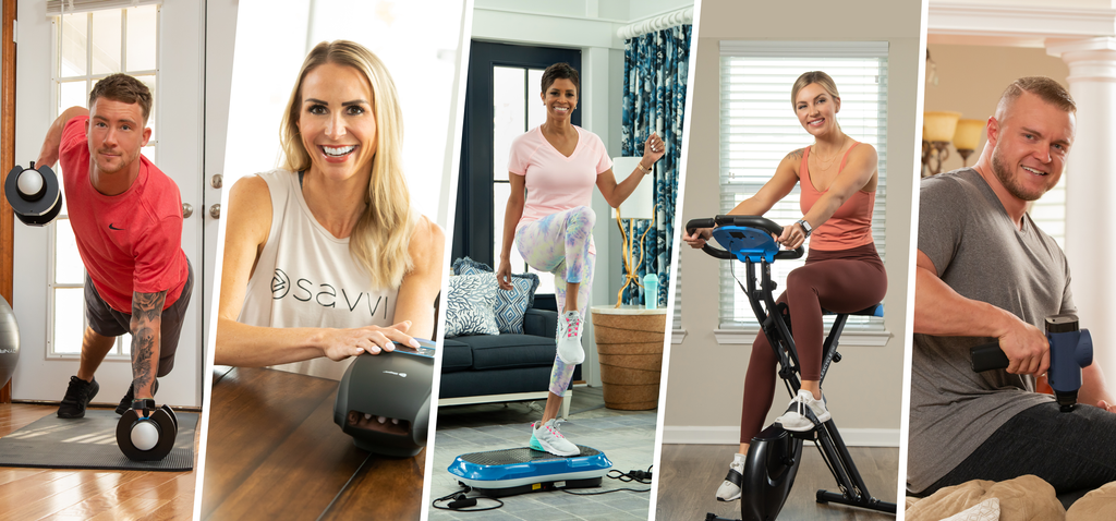 3 women and 2 men exercising in their homes