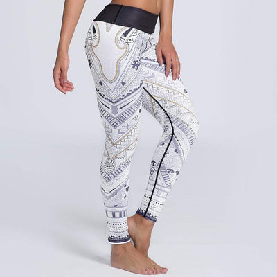 Fit Girls Land FGL - WHITE PREMIUM PRINTED LEGGINGS