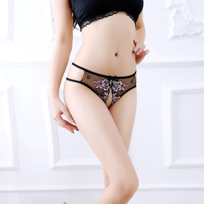 Lace Embroidery Crotchless Panties - Fit Girls Land