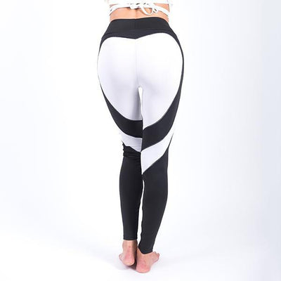 Fit Girls Land leggings Black White Heart / S Heart Splice Leggings