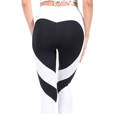 Fit Girls Land leggings White Black Heart / S Heart Splice Leggings