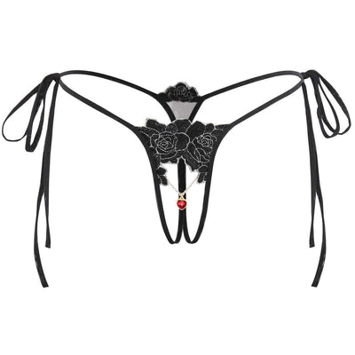 Fit Girls Land xs / Black Lace-up Pendant Knickers