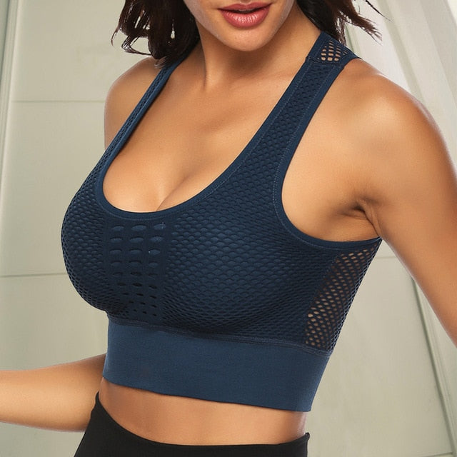 FGL - KYRA MESH TOP - BLUE - Fit Girls Land