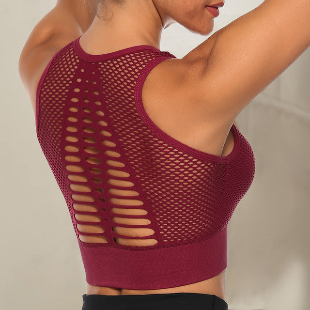 FGL - KYRA MESH TOP - WINE RED - Fit Girls Land