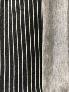 Grey and White Stripe & Heather Gre