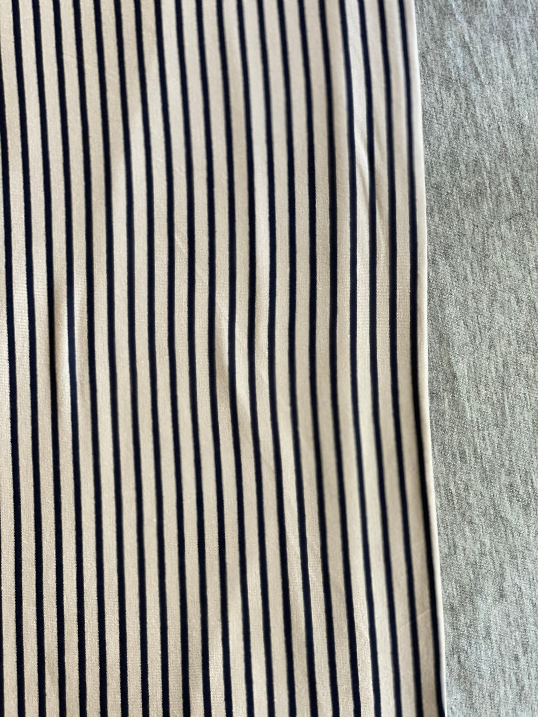 XL Oatmeal/Navy Stripe & Heather Grey