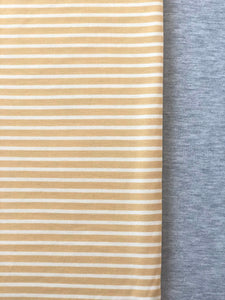 XL Yellow/White Stripe & Heather Grey