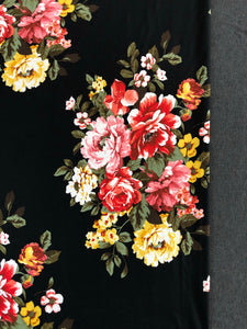 Colorful floral with Black background and Charcoal Grey