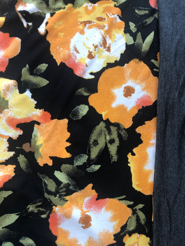 XL Black Yellow Floral & Charcoal Grey