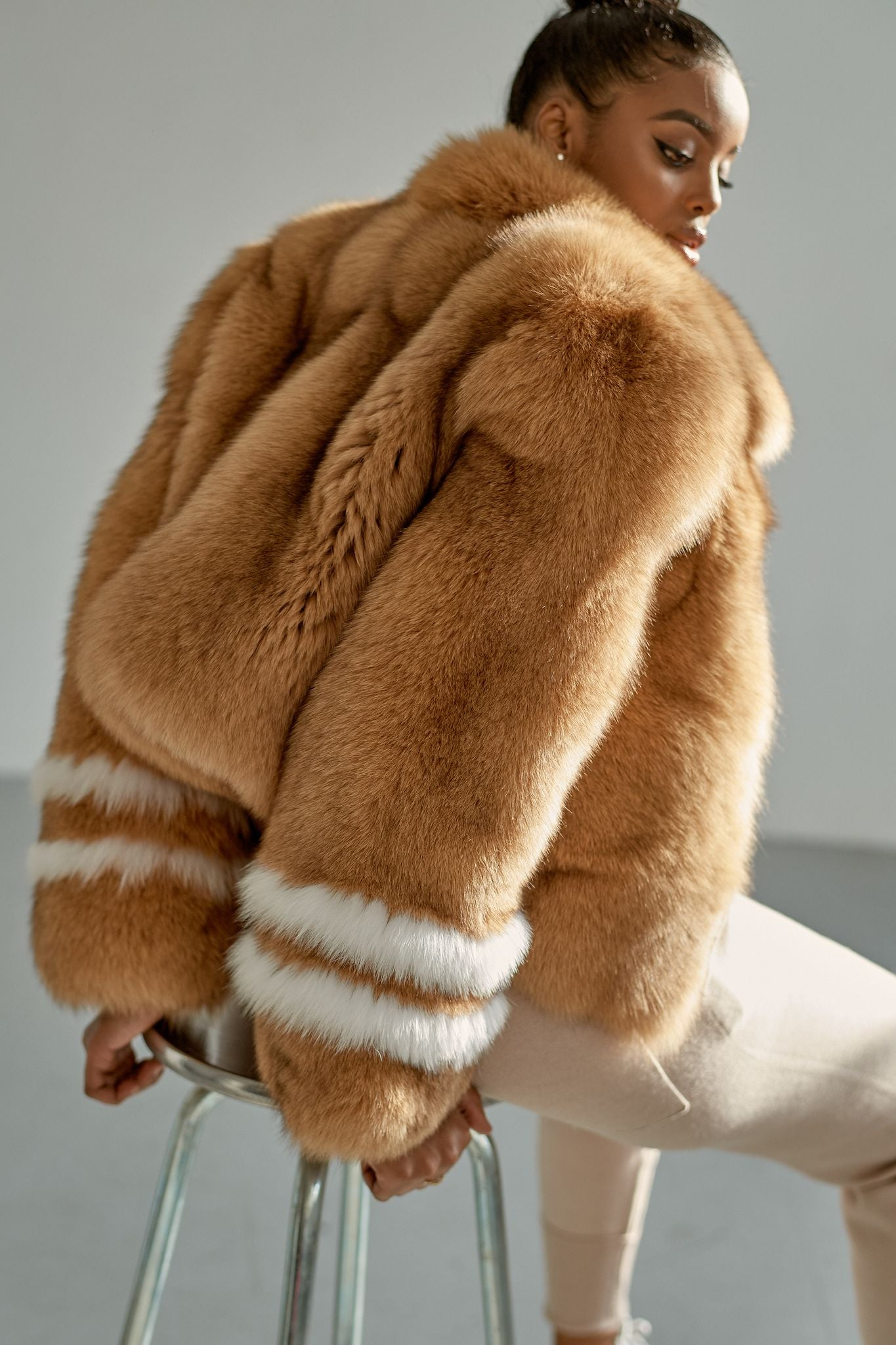 Double Striped Coat in Camel/White