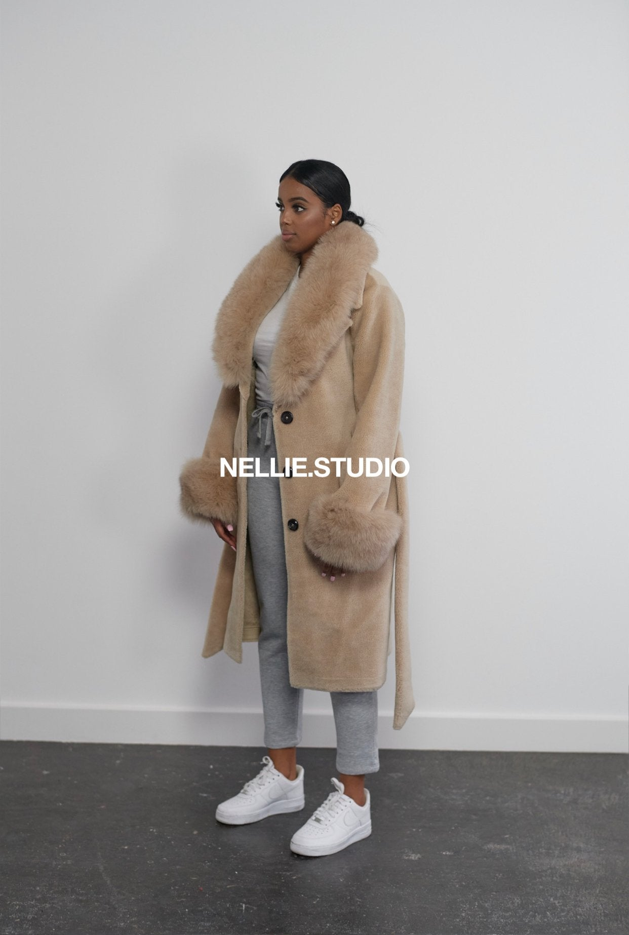 The Collared Teddy Coat in 'Nude'