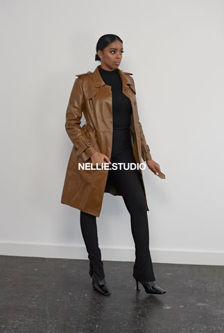The Classic Leather Trench Coat in 'Toffee'
