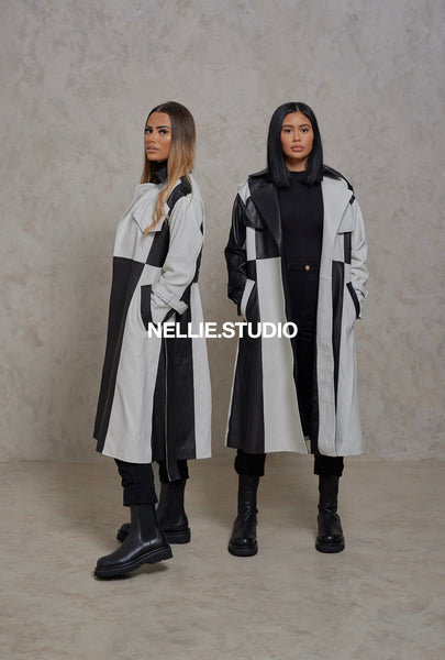 The Two-Tone Leather Trench Coat