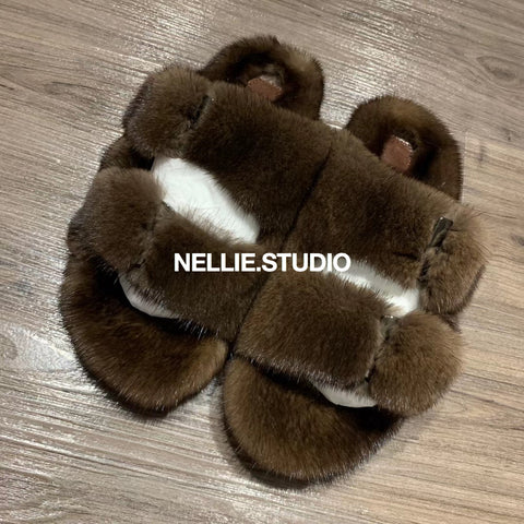 The 'Teddy' Natural Mink Slippers
