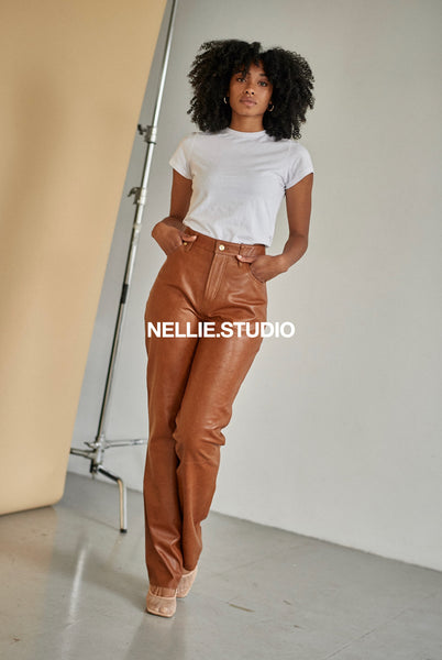 The Straight Leg Leather Pants - Brown