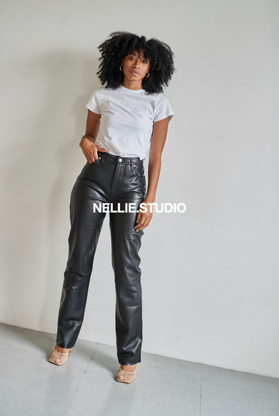 The Straight Leg Leather Pants - Black