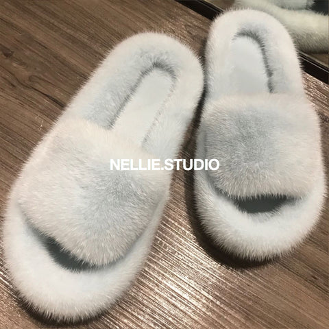 The 'Cosy' Natural Mink Slippers