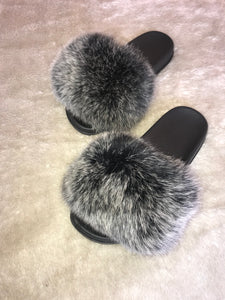Classic Fur Slides - Frosted Black