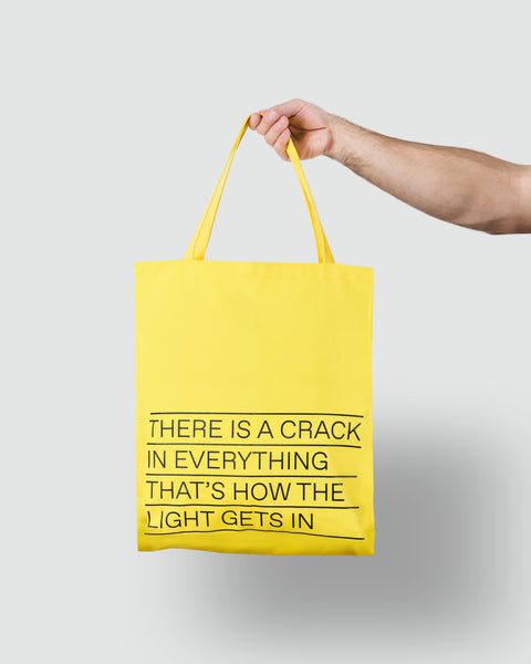 Yellow Tote Bag With Leonard Cohen's Quote (English or French)