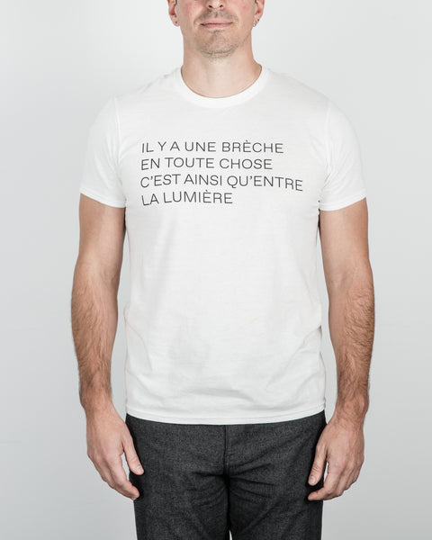 Unisex White T-Shirt With Leonard Cohen's Quote (English or French)