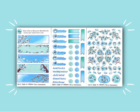 DIGITAL DOWNLOAD Blue Cherry Blossom Monthly Kit