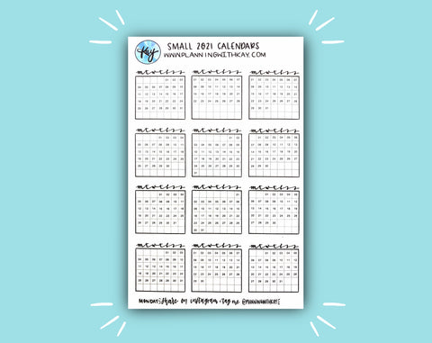 DIGITAL DOWNLOAD Small 2021 Calendars