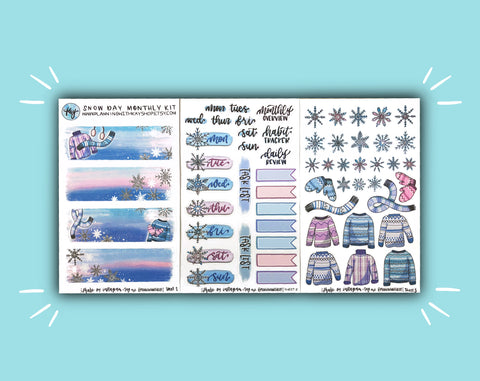 DIGITAL DOWNLOAD Snow Day Monthly Kit
