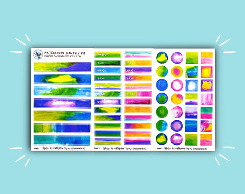 DIGITAL DOWNLOAD Watercolor Monthly Kit