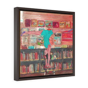 Acro at the Library (Square Framed Premium Gallery Wrap Canvas)
