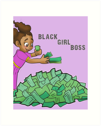 Black Girl Boss - Little Girl Mia Counting Money in Purple