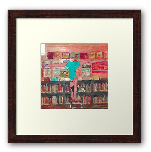 Acro In The Library (Framed Art Print)  - Free Shipping