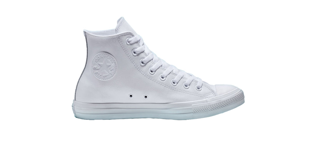 Converse : CTAS Leather HI - White Monochrome