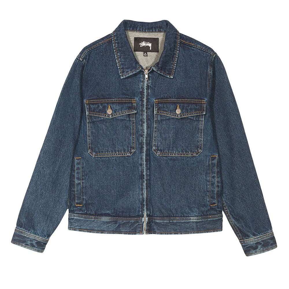 Stussy - Denim Garage Jacket: Dark Blue