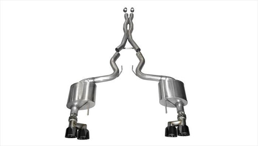 Corsa 3in Xtreme Cat Back Exhaust Black Quad Tips (2015-2019 GT w/o Active Exhaust)