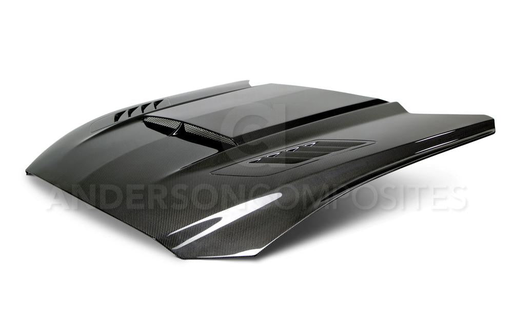 Anderson Composites Double Sided Carbon Fiber Ram Air Hood (V6/Ecoboost/GT 2015-2017) - Lebanon Ford Performance Parts