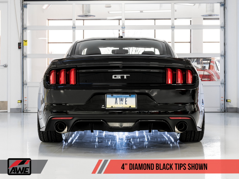AWE Tuning S550 Mustang GT Axle-back Exhaust - Touring Edition (Diamond Black Tips) - Lebanon Ford Performance Parts