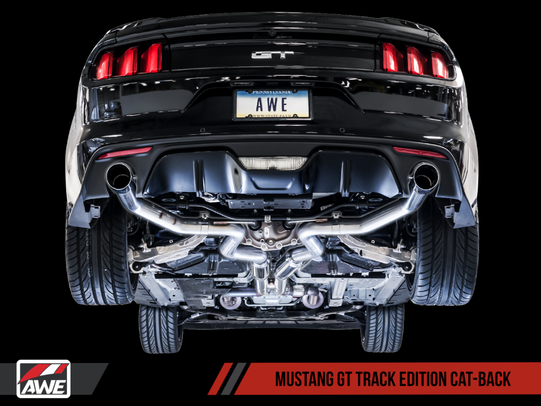 AWE Tuning S550 Mustang GT Cat-back Exhaust - Track Edition (Chrome Silver Tips) - Lebanon Ford Performance Parts