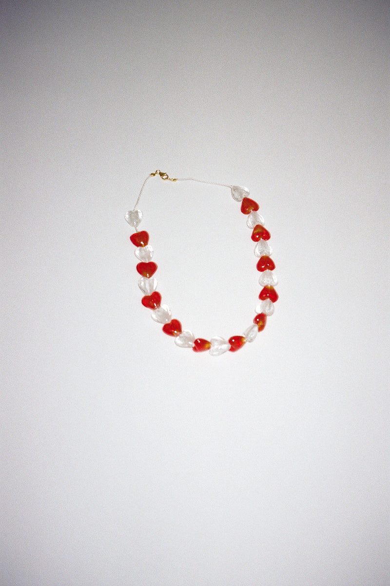 Beaded Heart Choker - Red & White Hearts