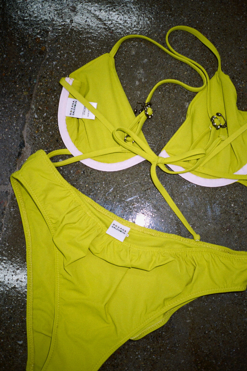 Shirr Triangle Bikini Set - Chartreuse
