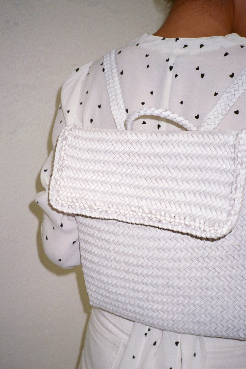 Hess Woven Backpack - White
