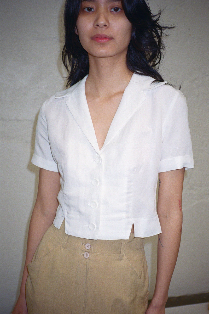 Lala Fitted Notched Shirt - White