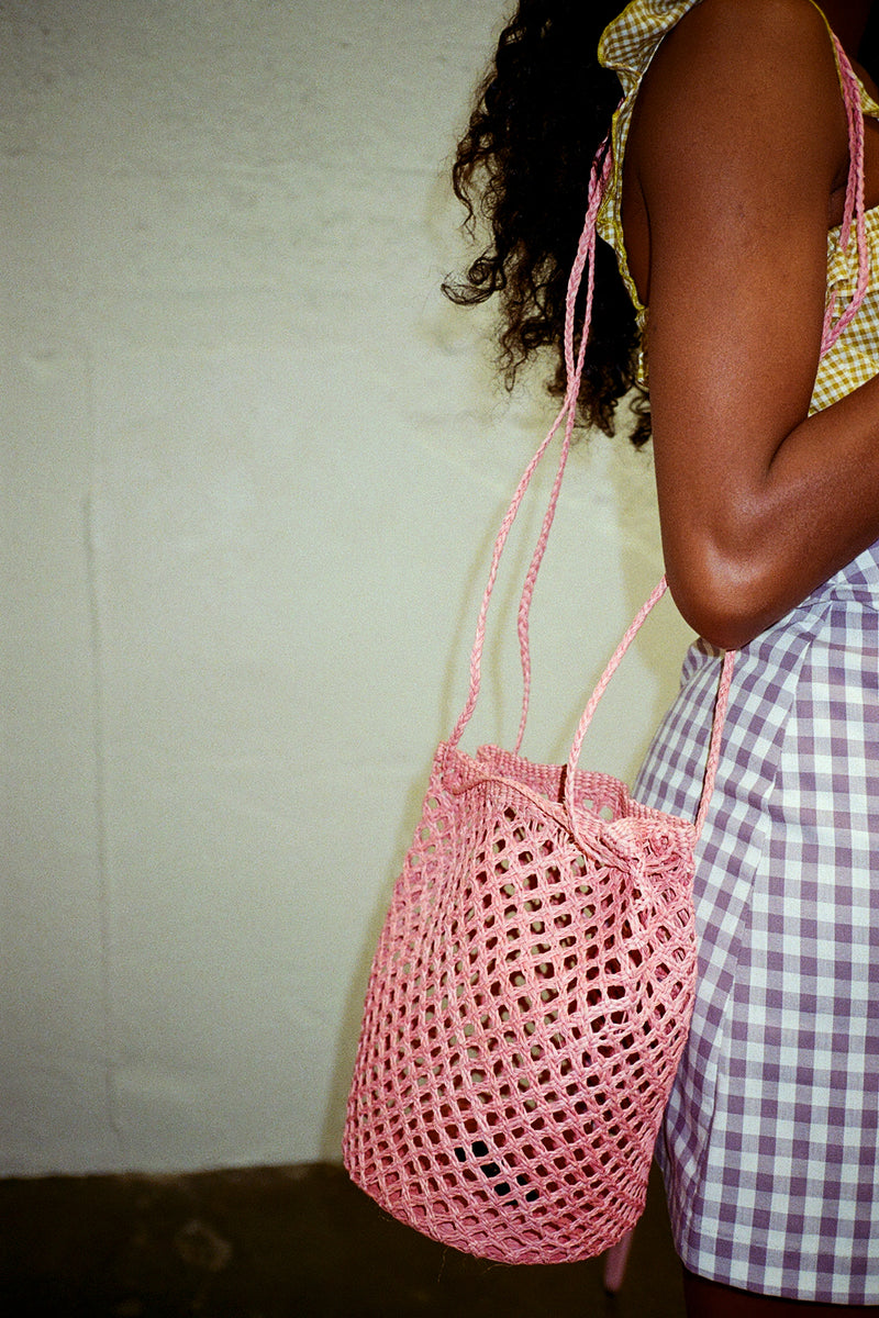 Turi Woven Shoulder Bag - Pale Rose