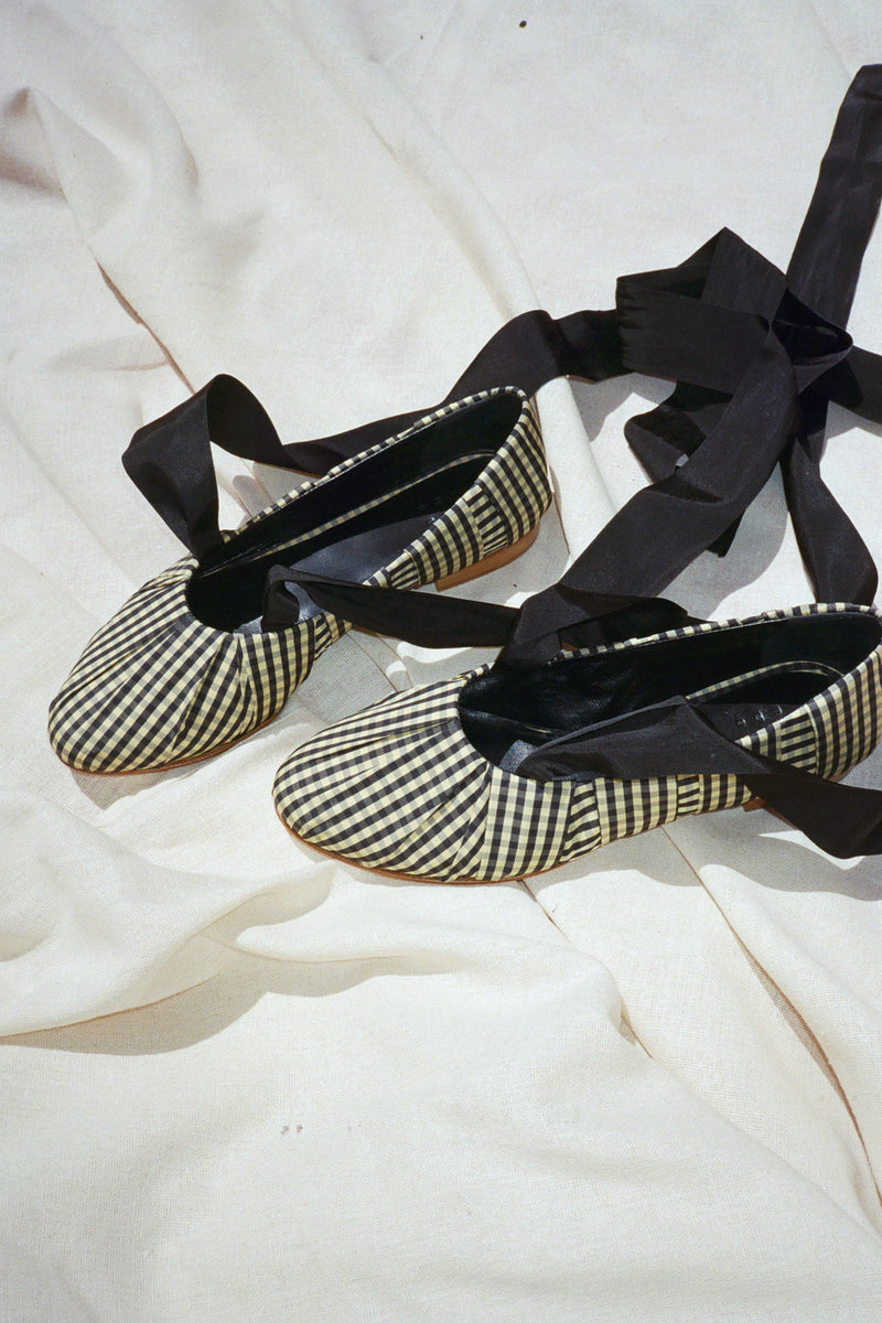 Sylvie Gingham Ballet - Black & Cream