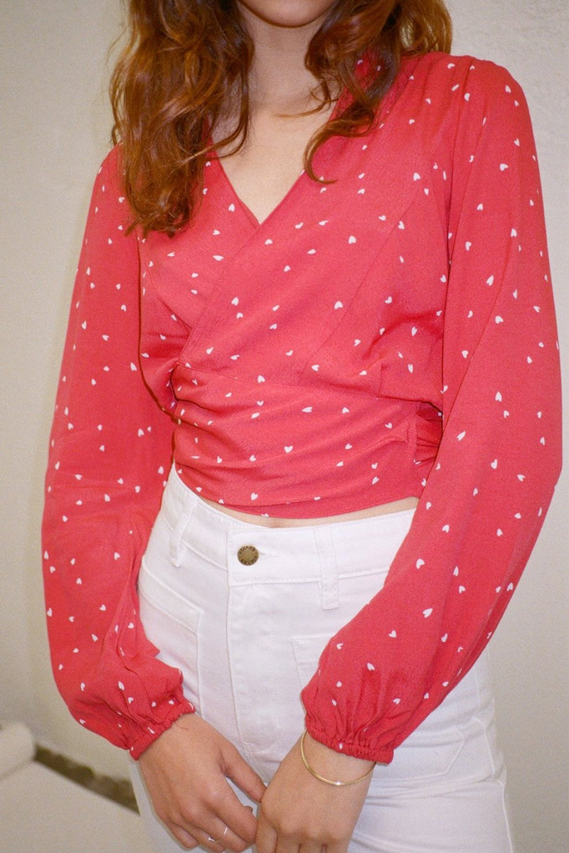 Layla Blouse - Red Hearts