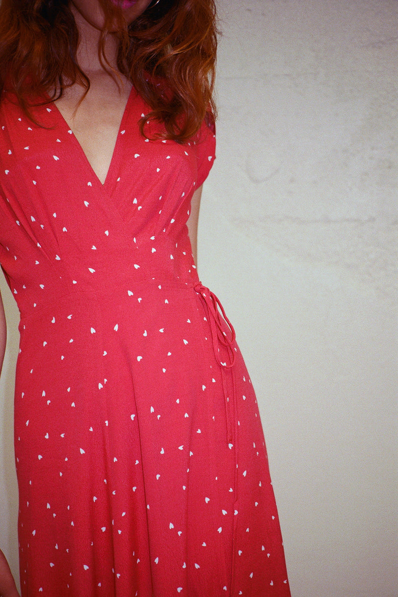 Dancer Wrap Dress - Red Hearts